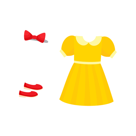 vector flat girl kid child outfit apparel set - red shoes, festive fancy bowtie, yellow dress. Isolated illustration on a white background. Illustration