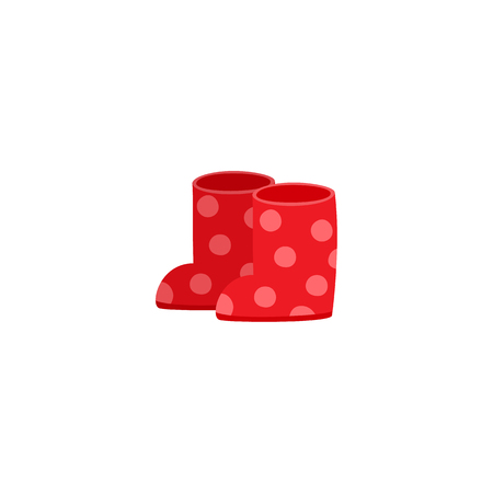 vector flat cartoon baby kid, children rubber boots red colored with white dots. Fashionable trendy style casual shoe. Isolated illustration on a white background. Illustration