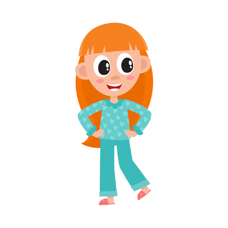 vector flat cute girl kid child with long red hair in funny nightgown and slippers standing smiling. isolated illustration on a white background.