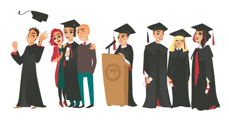 Set of college graduates, boys and girl in graduation cap and gown, holding diplomas, standing with parents, speaking from tribune, flat vector illustration isolated on white background Ilustrace