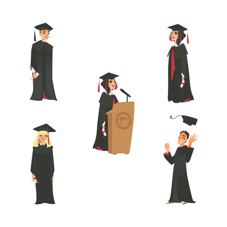 vector flat cartoon male, female college, university happy graduate character set. graduation gown, cap holding diploma speaking in microphone at tribune. Isolated illustration on a white background. Illustration