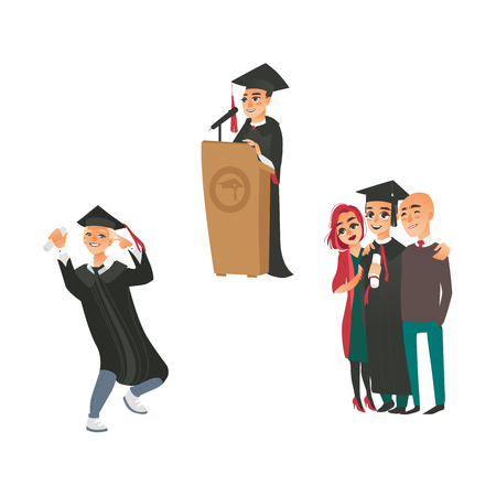 vector flat college university graduates scenes set. Boy standing hugging parents another boy in graduation gown, caps dancing smiling holding diploma, man speaking from tribune. Isolated illustration