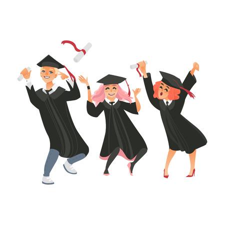 卒業キャップとガウンで卒業キャップとガウンの3人の卒業生のグループは、幸福から踊り、白い背景に隔離されたフラットベクトルイラスト。幸せ