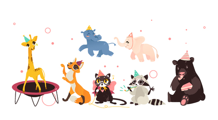 vector animals character in cartoon style, in paty hat set. Bear eating cake, fox dancing, raccoon whistling, elephant hippo running, giraffe jumping on trampoline, cat singing. Isolated illustration