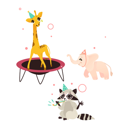vector cartoon cheerful animals character happily smiling in paty hat set. giraffe jumping on trampoline, raccoon having fun whistling, elephant running . isolated illustration on a white background.