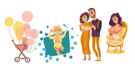 Baby-Symbolsatz der flachen Karikatur des Vektors flacher neugeborener. Paare mit dem Baby, Krankenpflege, stillende Mutter, Spaziergänger mit Luftballonen und Jungen- und Mädchenkleinkinder. Getrennte Abbildung auf einem weißen Hintergrund. Standard-Bild - 92123774