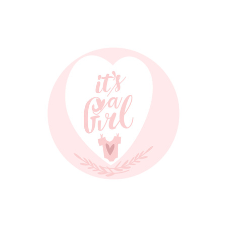 vector flat cartoon its a girl inscription colored in pink in heart shape frame and baby t-shirt image. Isolated illustration on a white background. Иллюстрация