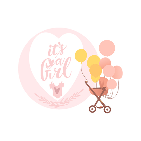vector flat cartoon baby carriage or stroller, pram perambulator with congratulatory air balloons with it s a girl inscription. Isolated illustration on a white background.