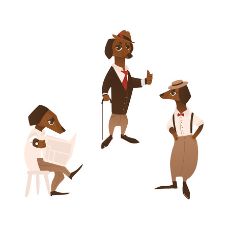 vector cartoon stylized humanized dog character in formal clothing set. Male animal reading newpaper another one standing with cane in hat, showing thumbs up and another puppy in pants with suspenders