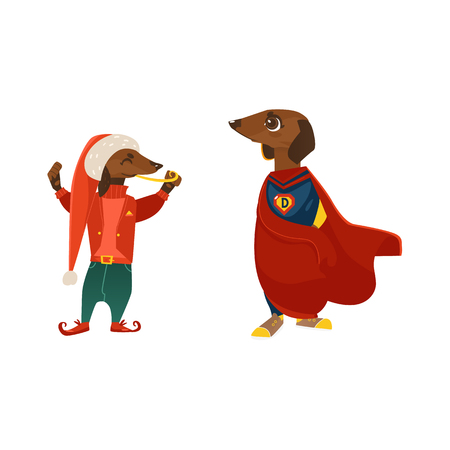 vector cartoon stylized humanized dachshund dog characters in costumes. Male animal in christmas hat elf costume standing with candy, another puppy in hero cape. isolated illustration