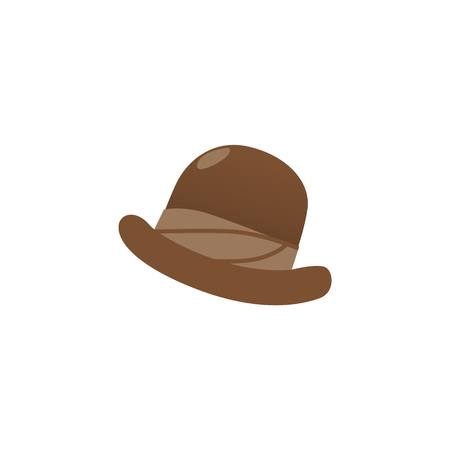 Brown bowler hat, iconic, traditional headwear of British City Gents, gentlemen, flat vector illustration isolated on white background. Flat style icon of traditional English bowler hat