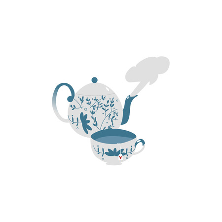 Retro style, antique decorated porcelain teapot and tea cup set, flat vector illustration isolated on white background. Flat style blue and white porcelain teapot with steaming hot tea and one cup