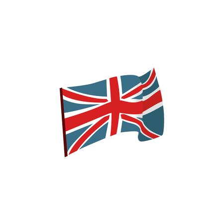 Waving Union Jack, national flag of the United Kingdom, flat vector illustration isolated on white background. Flat style Union Jack, British flag, national symbol of United Kingdom Illustration