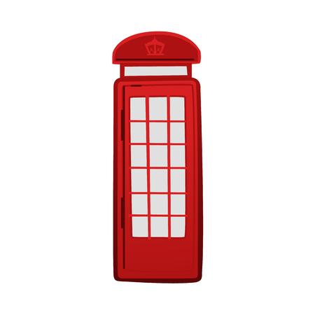 Iconische rode telefooncel, cabine, kiosk, Londen, Engeland symbool en toeristische attractie, cartoon vectorillustratie geïsoleerd op een witte achtergrond. Cartoon icoon van Londen classis rode telefooncel Stock Illustratie