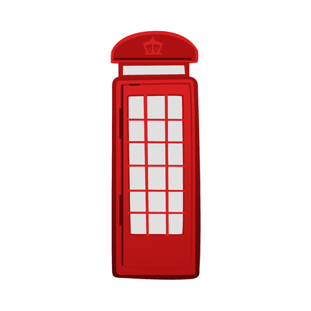 Iconic red telephone box, booth, kiosk, London, England symbol and tourist attraction, cartoon vector illustration isolated on white background. Cartoon icon of London classis red telephone box
