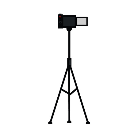 vector flat cartoon lens photo camera standing at special tripod stand back view. Professional photo equipment. Isolated illustration on a white background. Illustration