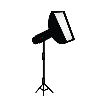 vector flat cartoon photo studio flash light with softbox standing at special tripod stand side view. Professional photo equipment. Isolated illustration on a white background.