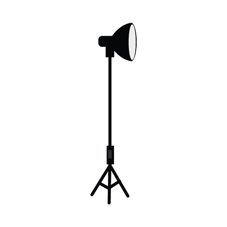 vector flat cartoon photo studio searchlight standing at special tripod stand side view. Professional photo equipment. Isolated illustration on a white background.