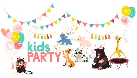 vector flat animals at party poster. Ilustracja