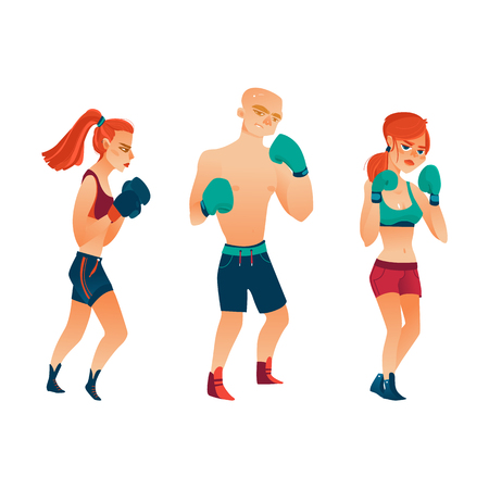 vector cartoon stylized muscular strong cute beautiful woman, girl and brutal man stand in different poses with red boxing gloves smiling set. Isolated illustration on a white background.