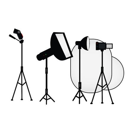 벡터 평면 만화 사진 스튜디오 빛 장비를 설정합니다. 부드러운 상자가있는 플래시 라이트.
