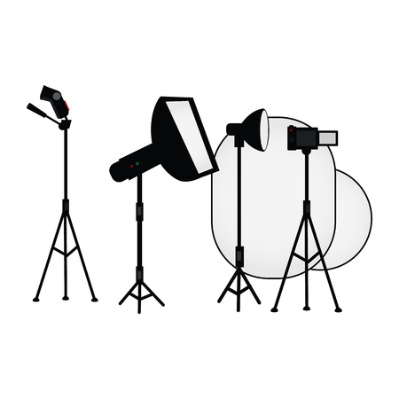 vector flat cartoon photo studio light equipment set. Flash light with soft box.