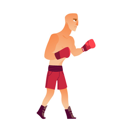 Young, bald Caucasian male boxer Stock Illustratie