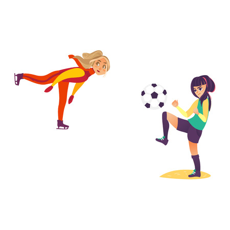 Two teenage girls doing sport - figure skating and playing football, flat cartoon vector illustration isolated on white background. One teen, teenage girl figure skating, another playing football