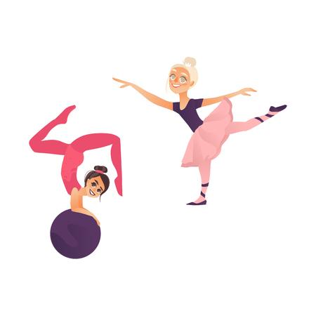 벡터 만화 스타일 된 여자 스포츠를 하 고 설정합니다. 귀여운 어린 십 대 소녀 체조를 만드는 공을, 스트레칭 운동을 pointe에 발레 다른 여자를 만들기. 일러스트