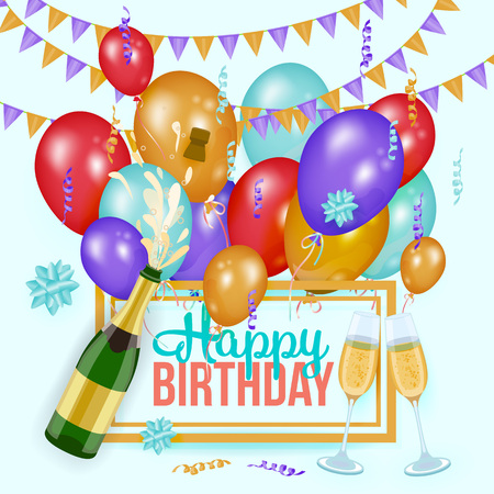 Happy Birthday greeting card template with champagne bottle and glasses, balloons and flags, realistic vector illustration. Birthday party set - text, champagne, glasses, balloons and party flags