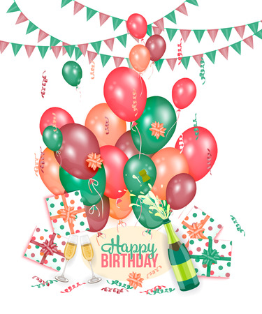 Happy Birthday greeting card with champagne, balloons, presents and flags, realistic vector illustration. Happy Birthday greeting set - lettering, champagne, glasses, balloons, flags and present boxes Vettoriali