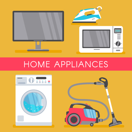 vector home appliance sale poster, banner design with modern consumer electronics icons - microwave overn, washing machine, vacuum cleaner, plasma panel tv set, monitor and iron. Isolated illustration Ilustração
