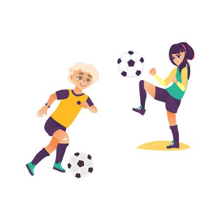 Kids, children, boy and girl, playing football, dribble and jiggling the ball, flat cartoon vector illustration isolated on white background. Kids, boy and girl playing soccer, football, training