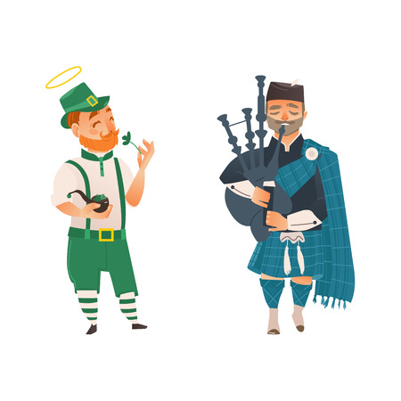 vector cartoon people in United kingdom national costumes set. scotland man bagpiper in traditional clothing holding bagpipe and Irish man in leprechaun or Saint Patrick costume holding clover. Illustration
