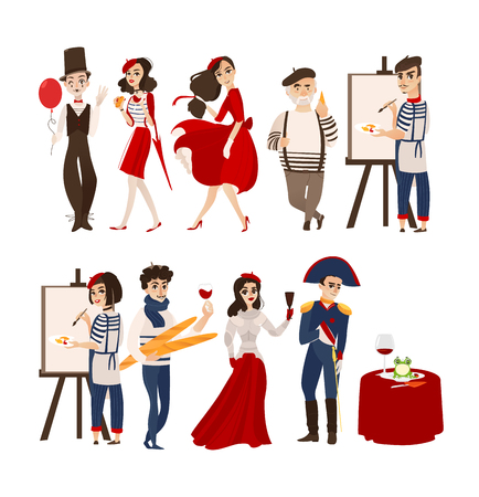 French characters, mimes, artists, Napoleon and Jane of Arc with cheese, baguette, wine as symbols of France, flat cartoon vector illustration isolated on white background. French people set Illusztráció