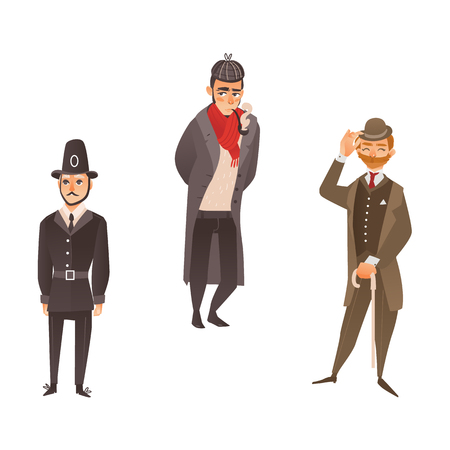 vector cartoon people in United kingdom national costumes set. English victorian gentleman in suit, hat holding cane umbrella, detective smoking pipe and english policeman. Isolated illustration Illustration