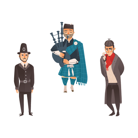 Set of stereotypical Great Britain character - gentleman, policeman and Scottish bagpiper, flat style vector illustration isolated on white background. English policemen and gentleman, Scottish piper