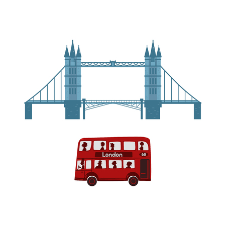 vector flat United kingdom, great britain symbols set. British double decker red bus vehicle, Tower Bridge of London icon. Isolated illustration on a white background