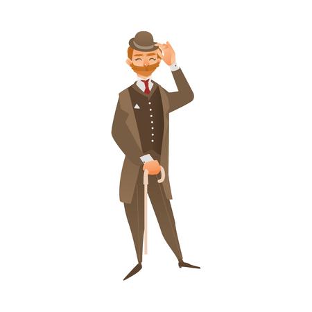 벡터 만화 영어, 영국 빅토리아 신사 공식적인 전통적인 야외 의류, 모자, 지팡이 지팡이 우산을 들고. 흰색 배경에 고립 된 그림입니다. 일러스트