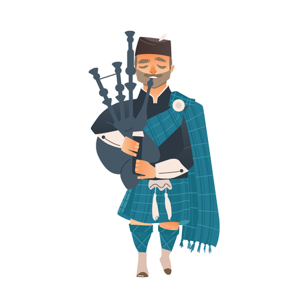 Cartoon Scotland man bagpiper in national traditional clothing holding Scottish musical instrument bagpipe.