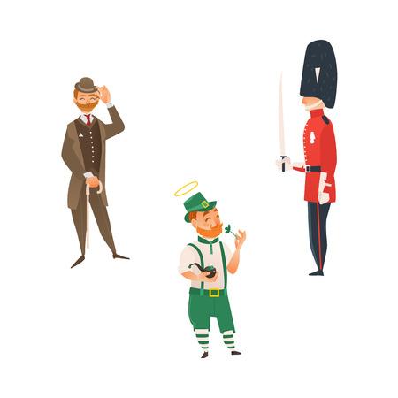 イギリスの国民的衣装の漫画の人々。