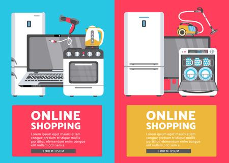 Vektor Online-Shopping-Werbung Poster Banner Design-Set. Gasherd, Geschirrspüler, Waschmaschine, Wasserkocher oder Teekanne, Föhn, Bügeleisen, Staubsauger, Laptop, Monitoruhr, Kühlschrank-Icon-Set Standard-Bild - 92136973