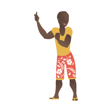 vector cartoon african black young adult man dancing at beach party in summer clothing, in shorts with flowers print. Isolated illustration on a white background. Illustration