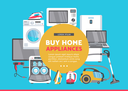 vector buy home appliance advertising poster banner design. Gas stove, dishwasher, washing machine, electric kettle or teapot, hair dryer, iron, vacuum cleaner, laptop, monitor clock, fridge icon set.