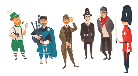 vector cartoon people in United kingdom national costumes set. scotland bagpiper in holding bagpipe, Irish man leprechaun holding clover, english victorian gentleman, detective, queen guard, policeman