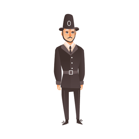 vector cartoon traditional british, english UK policeman, bobby in classic uniform and helmet. Isolated flat illustration on a white background.