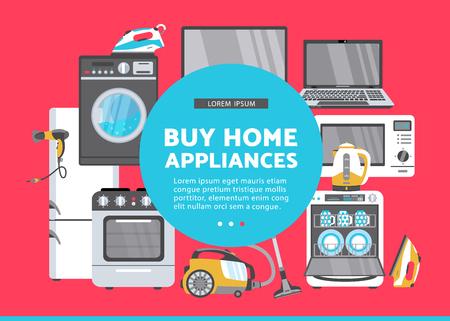 Vektor kaufen Haushaltsgerät Werbung Poster Banner-Design. Gasherd, Geschirrspüler, Waschmaschine, Wasserkocher oder Teekanne, Fön, Bügeleisen, Staubsauger, Laptop, Monitor Uhr, Kühlschrank Icon-Set. Standard-Bild - 92137008