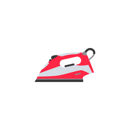 vector flat electric modern steam iron in working position red bright colored icon. Home appliance, consumer electronics symbols for your design. Isolated illustration on a white background.