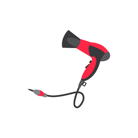vector flat cartoon highly detailed modern hair dryer. Red colored consumer electronics equipment icon image. Isolated illustration on a white background.