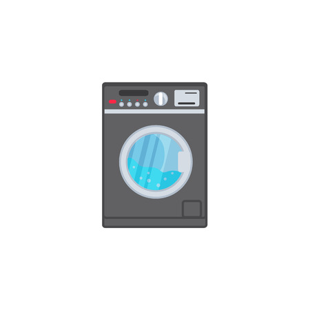 vector flat style modern trendy digital washing machine with display icon. Bathroom appliance electronics. Isolated illustration on a white background.